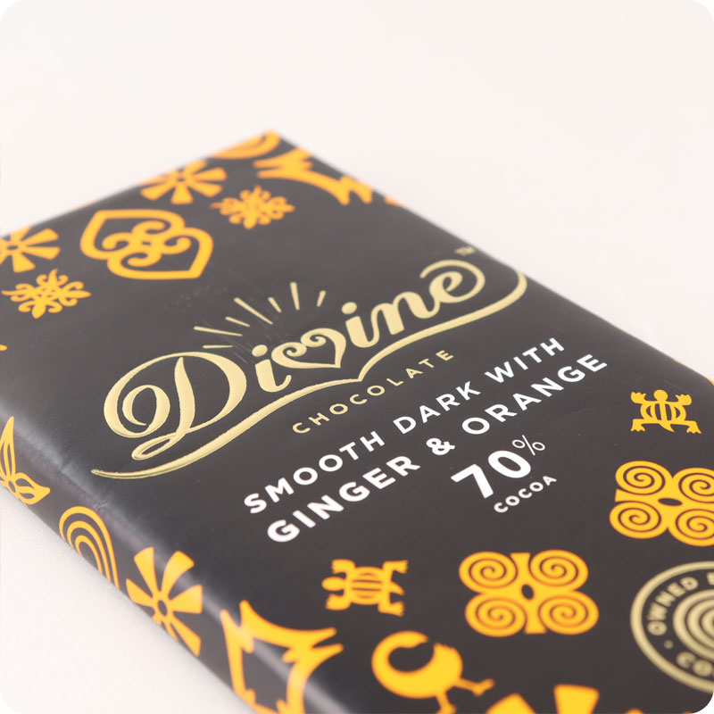 DIVINE FAIRTRADE DARK GINGER AND ORANGE CHOCOLATE 90G
