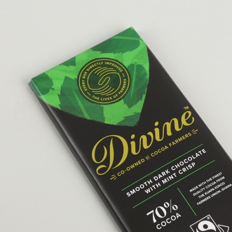 Divine Fairtrade Dark Mint Crisp Chocolate Bar 90g