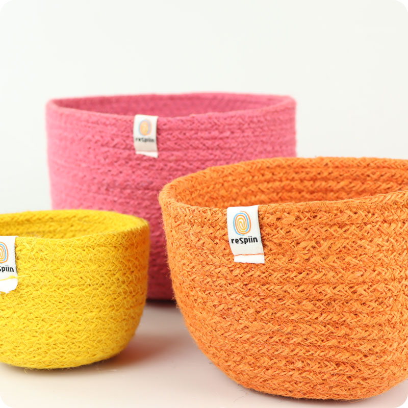 reSpiin - JUTE TALL BASKET SET - FIRE
