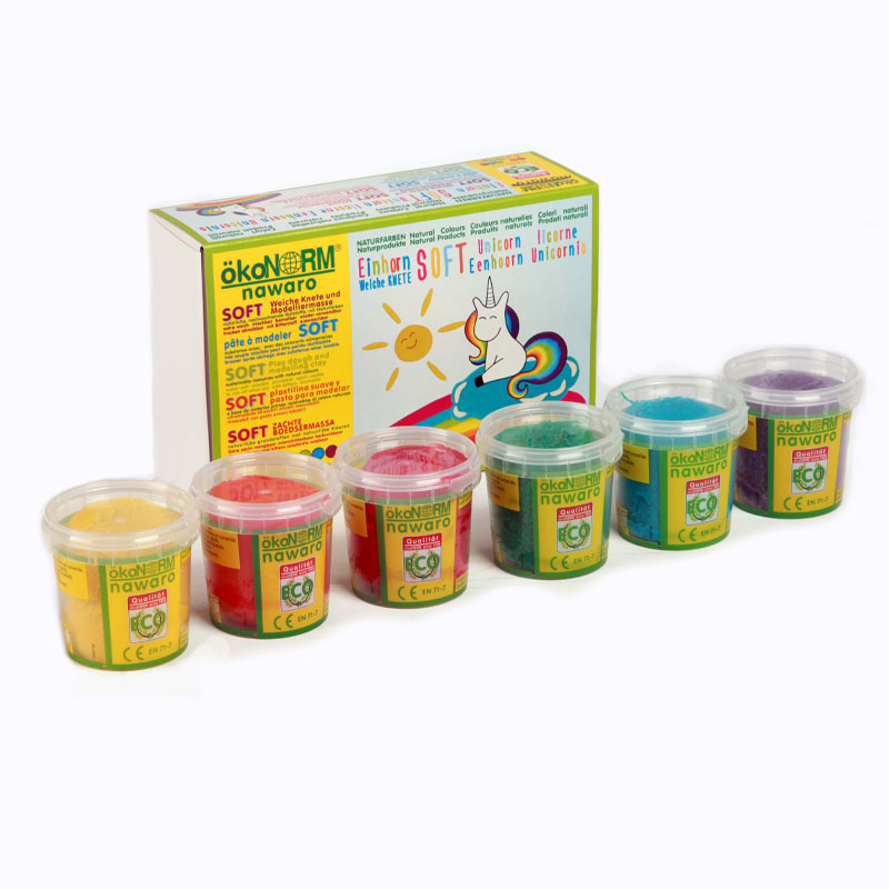 Okonorm Soft Play Dough - 6 Unicorn Colours
