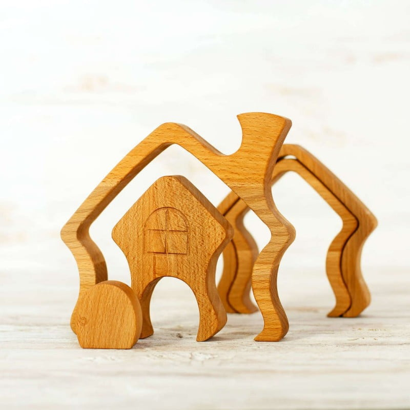 WOODEN CATERPILLAR STACKING HOUSE