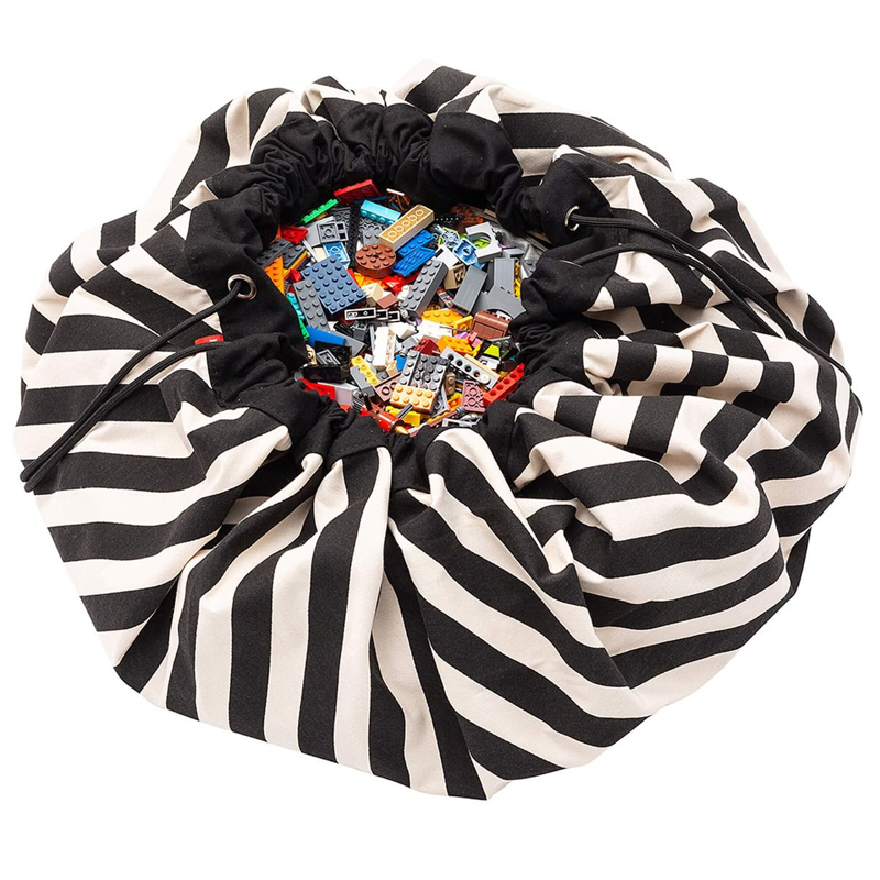 PLAY & GO BLACK STRIPES TOY STORAGE BAG