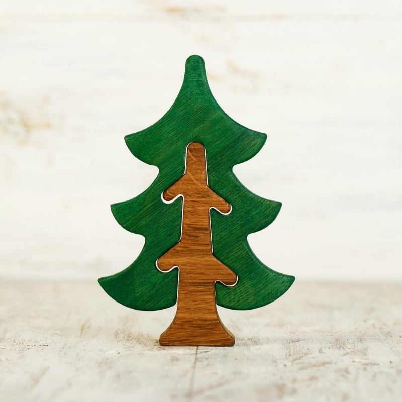 WOODEN CATERPILLAR FIR TREE