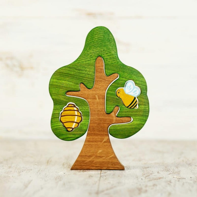 WOODEN CATERPILLAR TREE & BEEHIVE